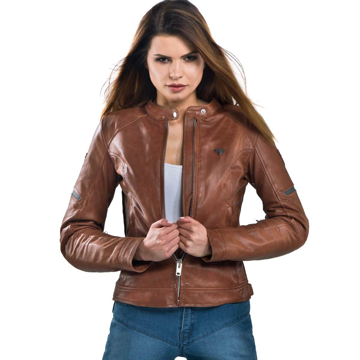 SHIMA Monaco Lady Leather Vintage Classic Motorcycle Jacket - Brown/Medium