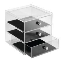 "iDesign Clarity BPA-Free Plastic 3-Drawer Jewelry Organizer with Tray - 6.47"" x 6.97"" x 7"", Clear/Black"
