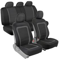 Advanced Performance Car Seat Covers - Instant Install Sideless Fronts + Full Interior Set for Auto Car, SUV, Truck, Van (Black/Charcoal Gray)