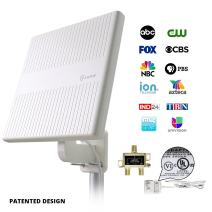 Outdoor TV Antenna for Multiple TVs,ANTOP 65 Miles Digital Amplified Outdoor RV/TV Antenna 360 Degree Omni Directional for UHF/VHF Reception Enhanced with Tools-Free Installation and Signal Splitter
