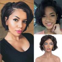 Bob, Pixie Cut Bob Wig Brazilian Short Bob Lace Front Curly Human Hair Wigs 150 Density for Black Women Pre-Plucked With Baby Hair