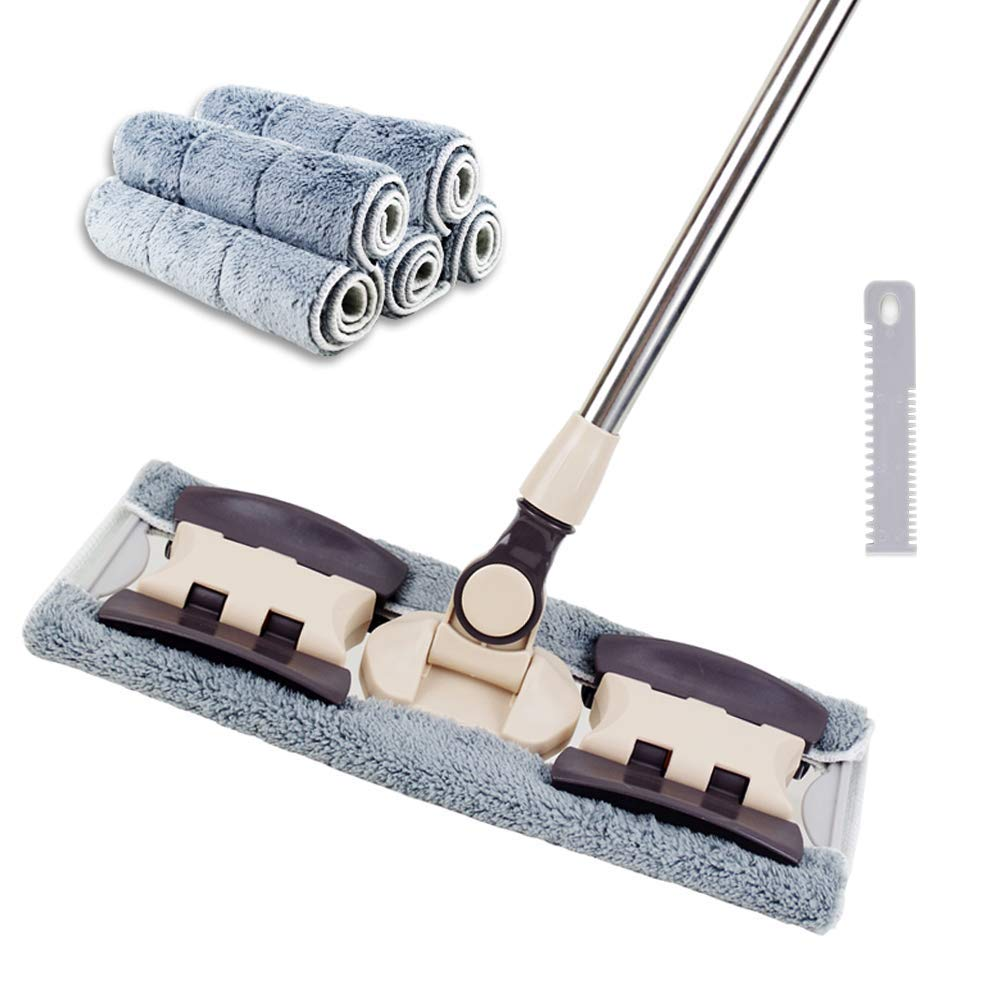VAIIGO Professional Microfiber Hardwood Floor Mop, Flat Mops with 5 Pieces Reusable Washable Pads for Home and Office Wet or Dry Floor Cleaning
