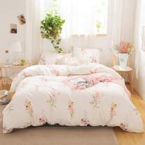 MOVE OVER Off White Floral Bedding Pink Flowers Duvet Cover Set Lavender Pink Flowers Printed Botanical Country Style Bedding Sets Queen 1 Duvet Cover 2 Pillowcases (Queen, Off White)