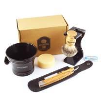 Anbbas Shaving Set with 7in1 Best Badger Shaving Brush,Stand and Resin Bowl,Shaving Soap 3.5oz,Solid Olive Wood Handle Straight Razor,Leather Shaving Razor Bag,10pcs Blades,Shaving Kit for Men