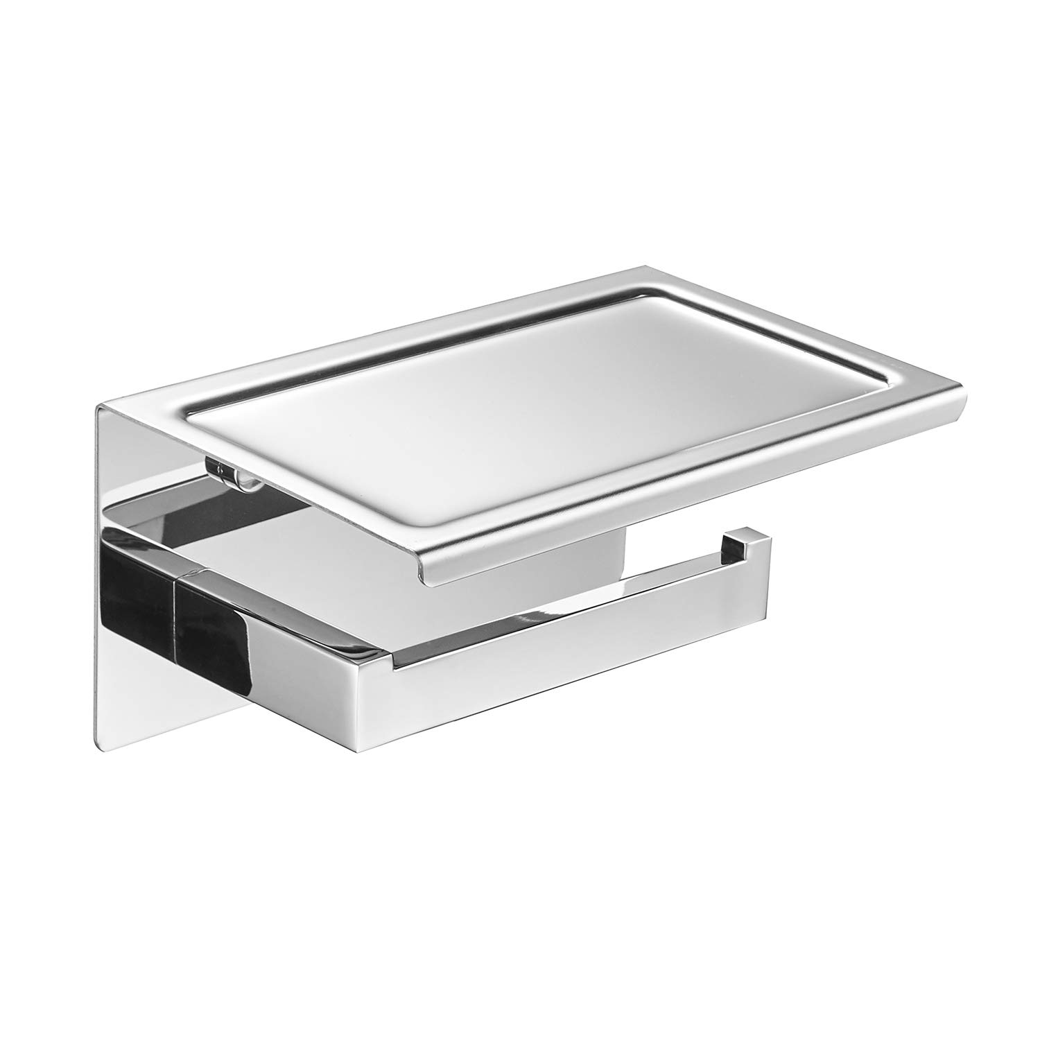 POKIM Toilet Paper Holder with Phone Shelf Polished Chrome, SUS 304 Stainless Steel Bathroom Accessories Tissue Roll Dispenser Storage Wall Mounted