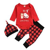 3Pcs Newborn Baby Boys Xmas Clothes Set My 1st Christmas Red Romper Elk Santa Top+Red Plaid Pants Outfits with Hat