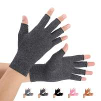 2 Pairs Arthritis Compression Gloves for Arthritis Pain Relief, Rheumatoid, Osteoarthritis and Carpal Tunnel for Men and Women, Fingerless for Typing (Black, Medium)