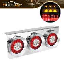 Partsam 1Pc LED Truck Trailer Tail Lights Bar 54 LED with Chrome Iron Bracket Base Waterproof 24V Sealed RV Camper 4 Inch Round Led Trailer Tail Lights Bar Stop Turn Signal Running Parking Light Lamp