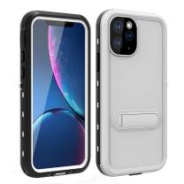 HYAIZLZ iPhone 11 Case Waterproof Kickstand Phone Case Full Body Heavy Duty Protection with Built-in Screen Protector Back Cover for iPhone 11 6.1 inch,White