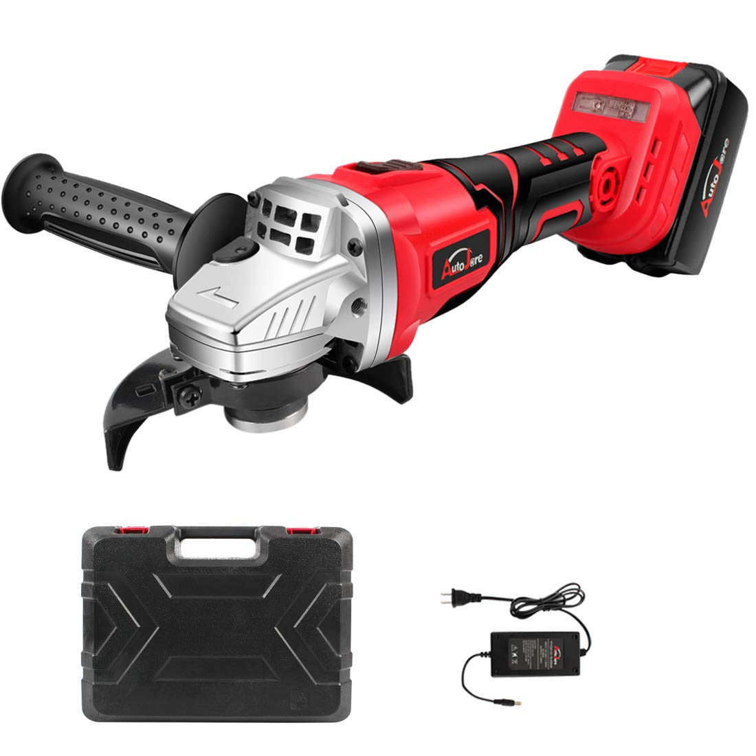 4-1/2 Inch Cordless Angle Grinder - AUTOJARE 20V Max/18V Rechargeable Lithium-Ion Battery Angle Grinder,8700rpm Max Speed, Brushless Motor, Carrying Case