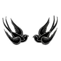Set of 2 Black Swallow Patch 4IN Bird Tattoo Sparrow Embroidered Iron On Applique