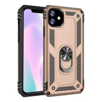 GAOAG Case for iPhone 11, Shockproof Kickstand Case Impact Protection Function Cover,360 Degree Rotating Ring Holder Case Work with Magnetic Car Mount (Gold, iPhone 11)
