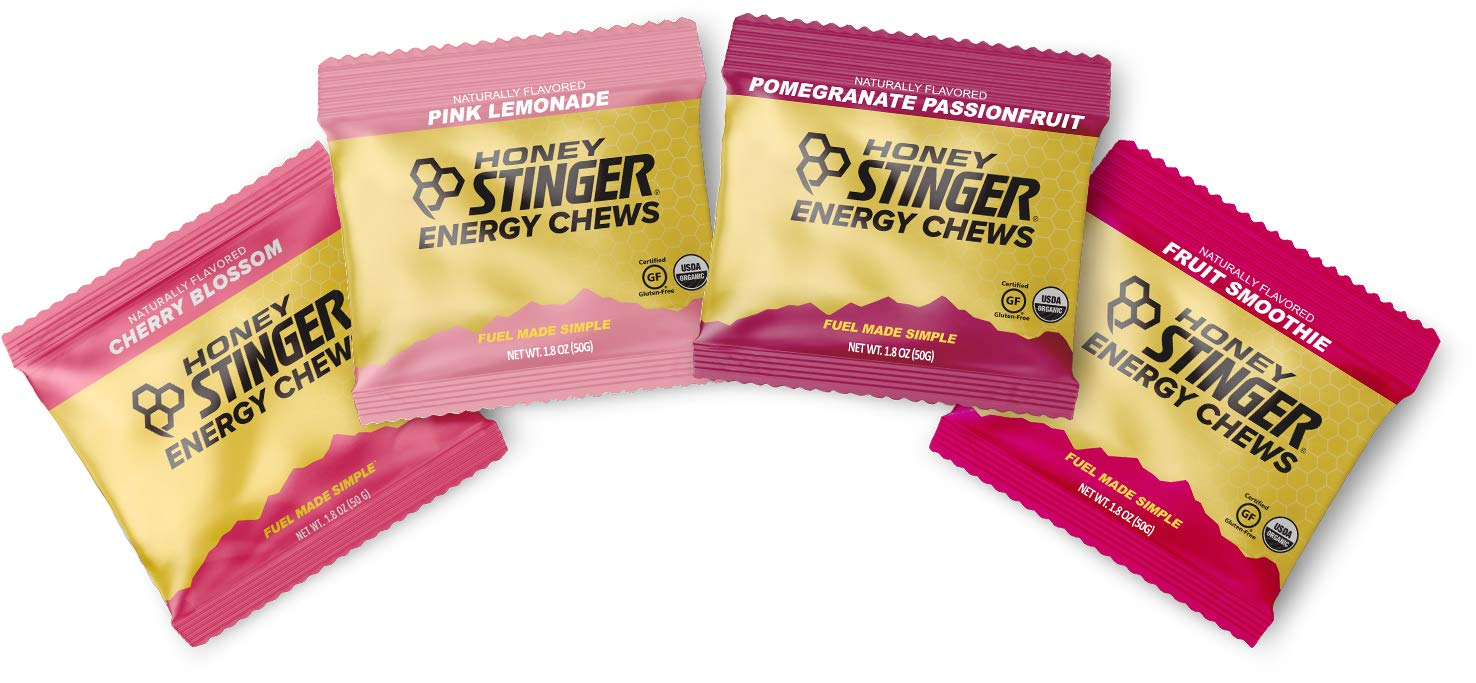 Honey Stinger Organic Energy Chews – Variety Pack with Sticker – 4 Count – 1 of Each – Gummy Energy Source for Any Activity – Cherry Blossom, Pink Lemonade, Pomegranate Passionfruit & Fruit Smoothie