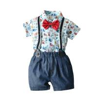 HOSUKKO Baby Boy Clothes Outfit, Onesie & Jeans & Bow Tie & Suspenders, Infant Boys' Pants Sets for Dress Up (4 pcs, 0-5T)