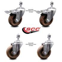 """High Temp Glass Filled Nylon Swivel Threaded Stem Caster Set of 4 w/4"""" x 1.25"""" Brown Wheels and 1/2"""" Stems - Includes 2 with Total Locking Brake - 1200 lbs Total Capacity - Service Caster Brand"""