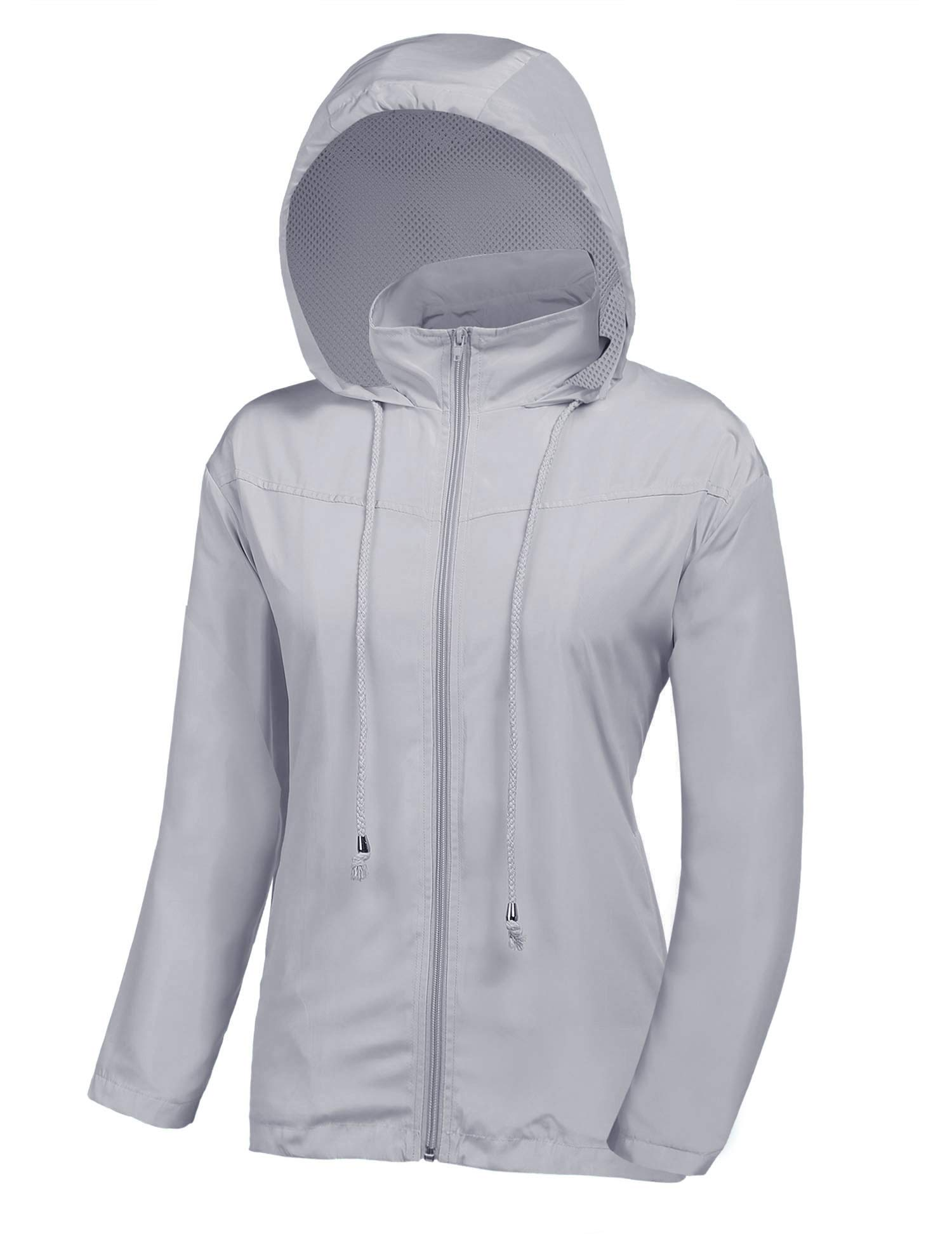 UUANG Women's Lightweight Raincoats Waterproof Active Outdoor Hooded Rain Jacket