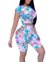 ECHOINE 2 Piece Outfit for Women Casual Printing Biker Tops and Shorts Tracksuit Sweatsuit Jogging Set