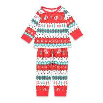 YOUNGER STAR Toddler Kids Merry Christmas Outfit Baby Boys Girls Fall Winter Tee and Pants 2-Piece Pajama Set