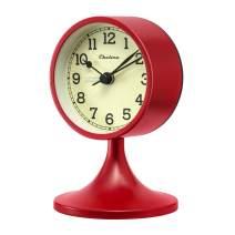 Chelvee Alarm Clock, Vintage Time Clock, 3 Inch Quartz Battery Operated Loud Alarm Clock (Red)