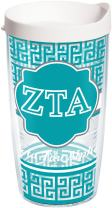 Tervis 1170692 Fraternity - Zeta Tau Alpha Geometric Tumbler with Wrap and White Lid 16oz, Clear