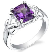 Peora Amethyst Ring in Sterling Silver, Designer Criss-Cross Solitaire, Radiant Cut 9x7mm, 2 Carats, Comfort Fit, Sizes 5 to 9