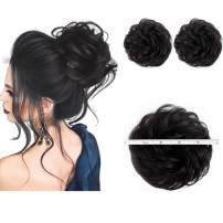 2PCS Messy Bun Hair Piece 100% Human Hair Scrunchies Buns Hair Pieces for Women Curly Wavy Black Bun Elegant Chignons Wedding(Color:Natural Black)