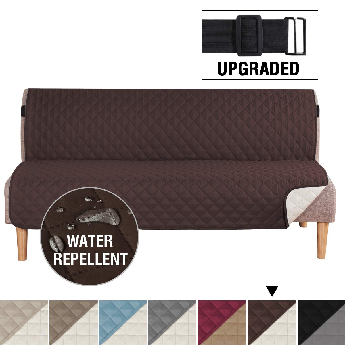 """H.VERSAILTEX Reversible Futon Slipcover Seat Width Up to 70"""" Washable Furniture Protector Water Repellent Futon Cover for Living Room 2"""" Elastic Strap Anti-Slip Futon Cover for Dogs Brown/Beige"""