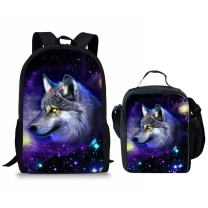 FUIBENG Galaxy Wolf nsulated Lunch Container Student Schoolbag Backpack