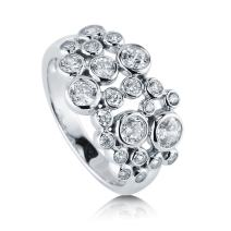 BERRICLE Rhodium Plated Sterling Silver Cubic Zirconia CZ Bubble Cocktail Fashion Right Hand Ring