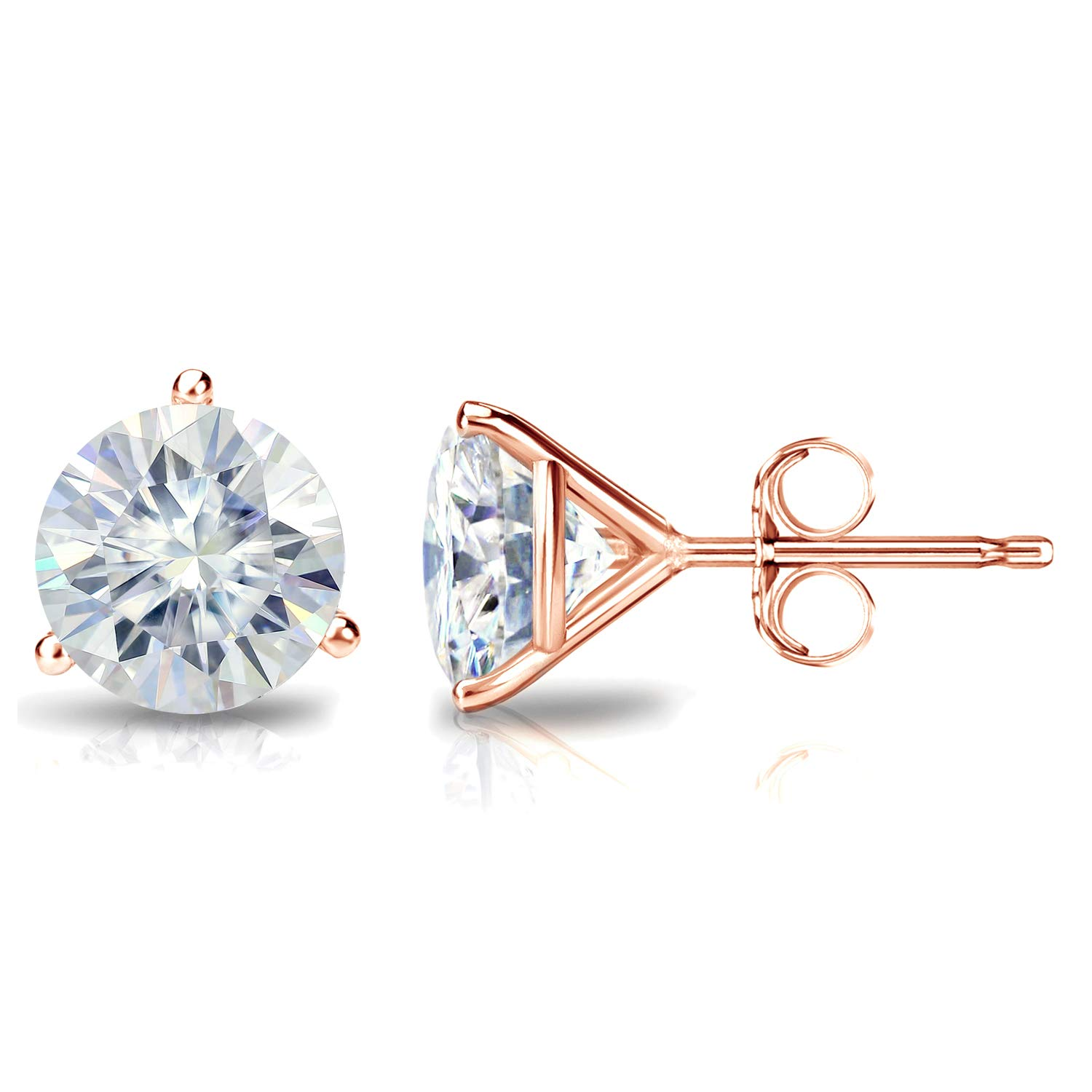 14k Gold Round Moissanite Stud Earrings (1 to 7ct TGW, J-K) 3-Prong Martini, Push-Back by Diamond Wish