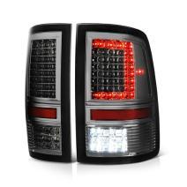 VIPMOTOZ Chrome Smoke C-Shape Full-LED Tail Brake Light Housing Lamp Assembly For 2009-2018 Dodge RAM 1500 2500 3500 Incandescent Model Driver and Passenger Side Replacement Pair