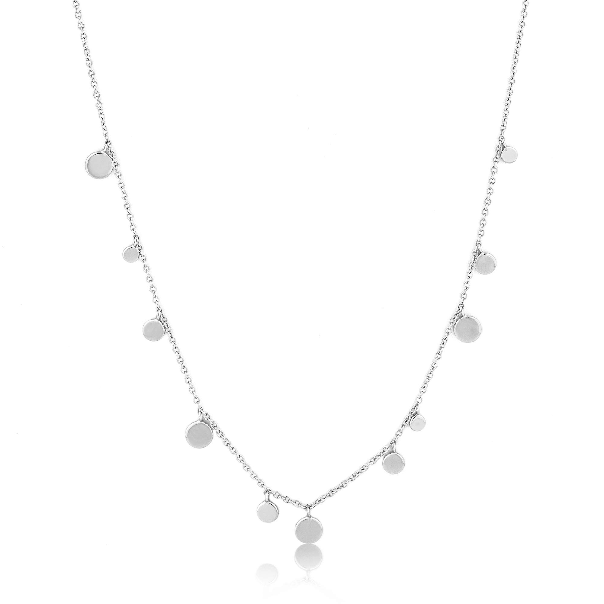 Fun Boho 925 Sterling Silver Layered Dainty Delicate Ball Circle Disk Necklace, White Rhodium