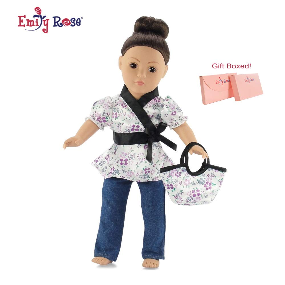 """Emily Rose 18 Inch Doll Clothes Fits American Girl - Satin Tunic & Jeans Outfit Includes 18"""" Dolls Accessories"""