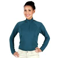 Nozone Tuscany Long Sleeved Sun Protective Women's Equestrian Shirt in Ink Blue, Large