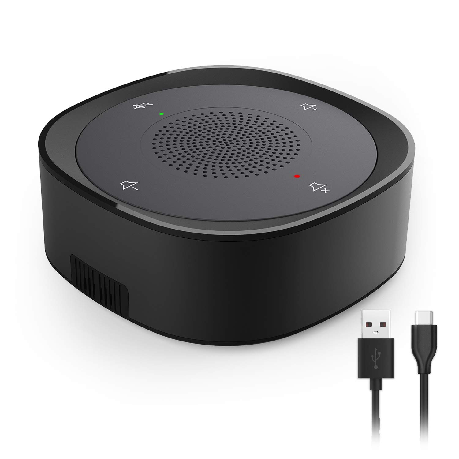 USB Speakerphone Microphone, Conference Speaker Omnidirectional Computer Mic, with 360º Voice Pickup, Touch-Sensor Buttons for Mute/unmute, Streaming, Call Speaker Skype, Webinar, Interview - Black