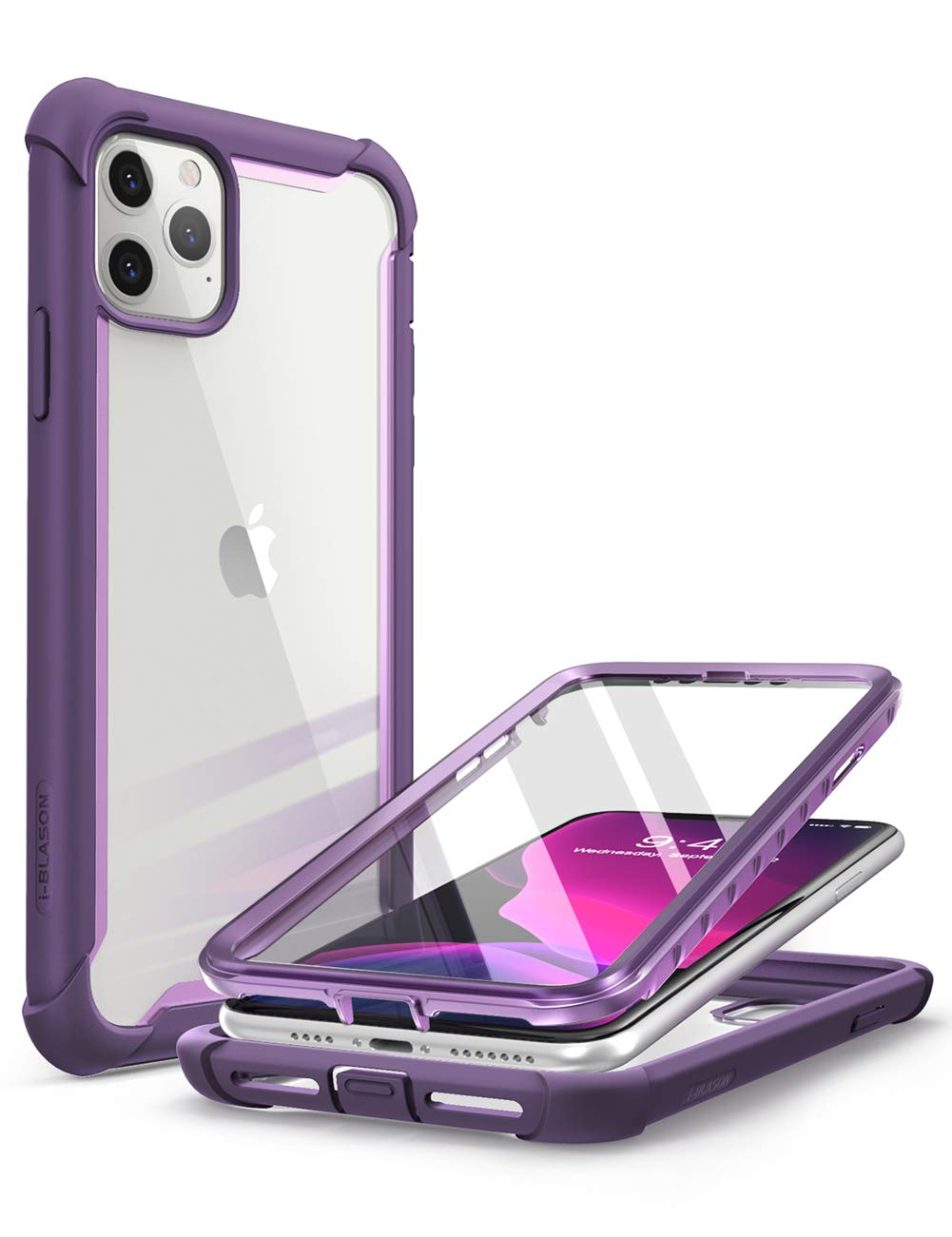 i-Blason Ares Case for iPhone 11 Pro Max 2019 Release, Dual Layer Rugged Clear Bumper Case with Built-in Screen Protector (Purple)