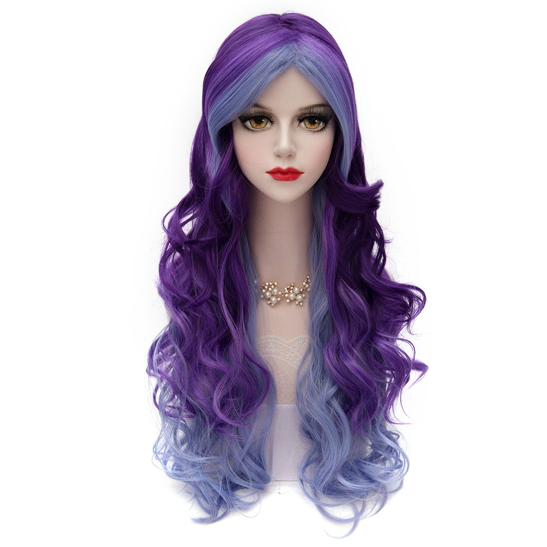 Women Violet Purple Wig, MQ Long Curly Wavy Wig for Girls 29.5 Inch Colorful Wigs Cosplay Costume Party Fluffy Wig Synthetic Charming Heat Friendly Ombre Wigs (Blue to Purple)