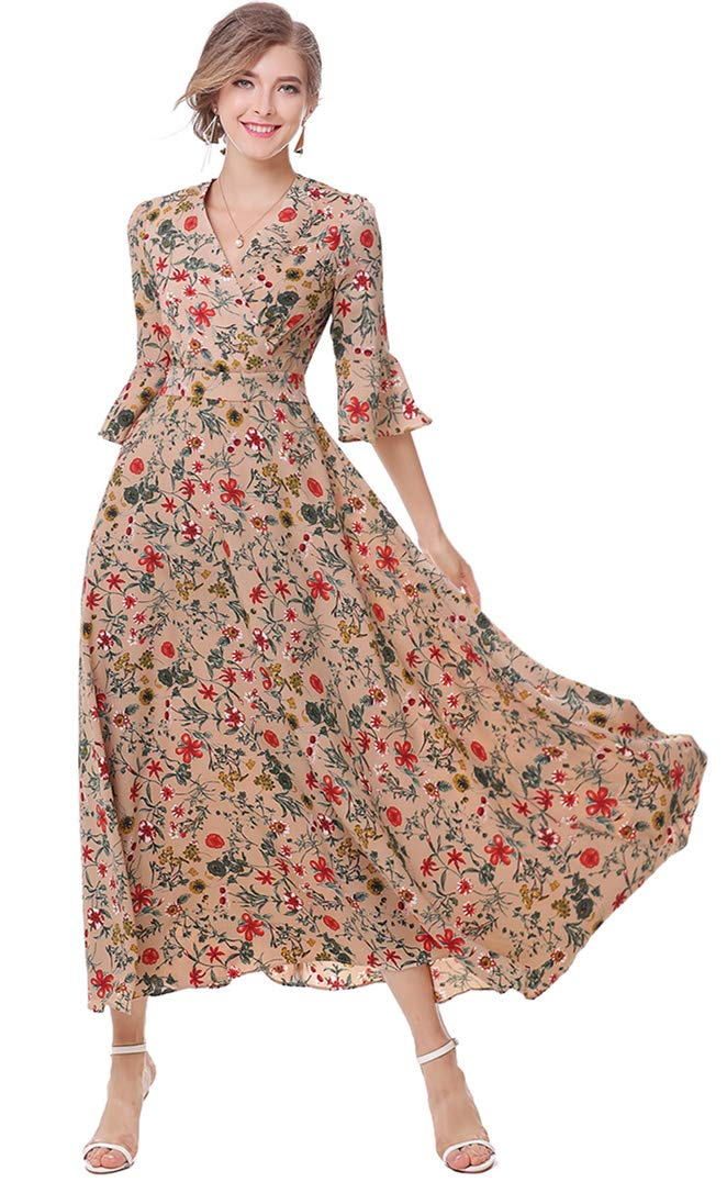 XINUO Womens Dresses Summer Party Casual Long Dresses Brown Floral Print Swing Maxi Dress V Neck Tea Formal Daily Dress,US10-12(Tag Size XL)