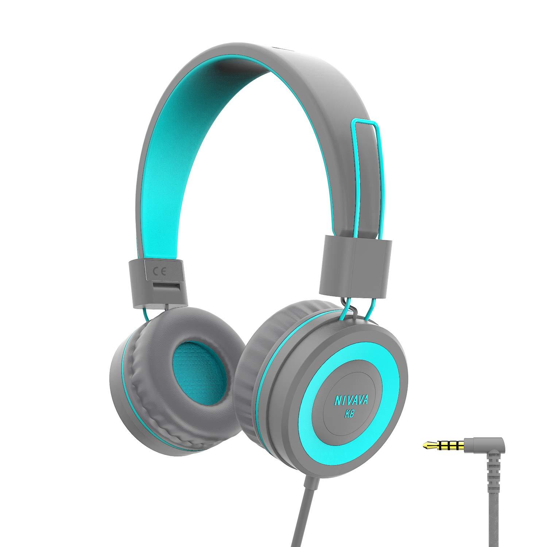 NIVAVA K8 Kids Headphones for Children Boys Girls Teens Wired Foldable Lightweight Stereo On Ear Headset for iPad Cellphones Computer MP3/4 Kindle Airplane School(Dark Gray )