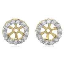 Dazzlingrock Collection 0.30 Carat (ctw) 18K Gold Round Diamond Removable Jackets for Stud Earrings 1/3 CT