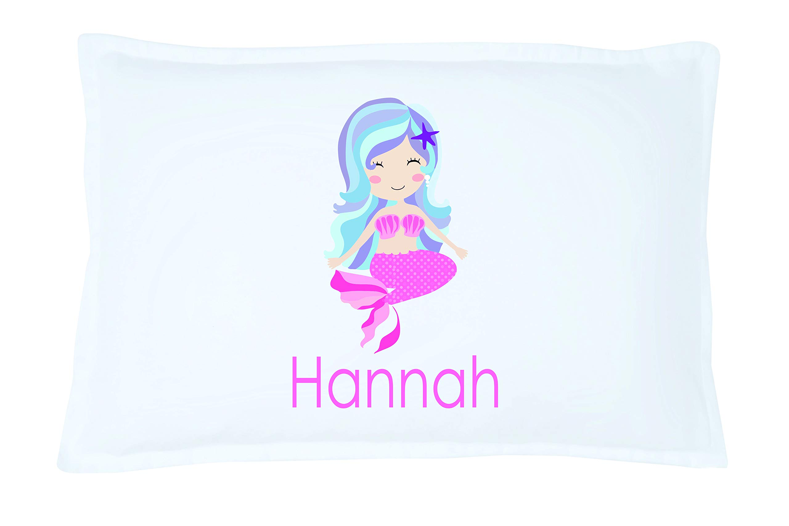 Personalized Kid's Purple Haired Mermaid Pillowcase Microfiber Polyester Standard 20 by 30 Inches, Name Pillow for Girls, Custom Pillowcase, Mermaid Bedding Decor, Little Mermaid Bedding for Girl
