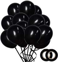 100 Pack Matte Black Balloons (12 Inch) Thick Latex Party Balloons Shiny Black Balloons Black Helium Balloons Birthday Party Wedding Baby Shower Balloon Graduation Party Supplies DIY Party Decoration
