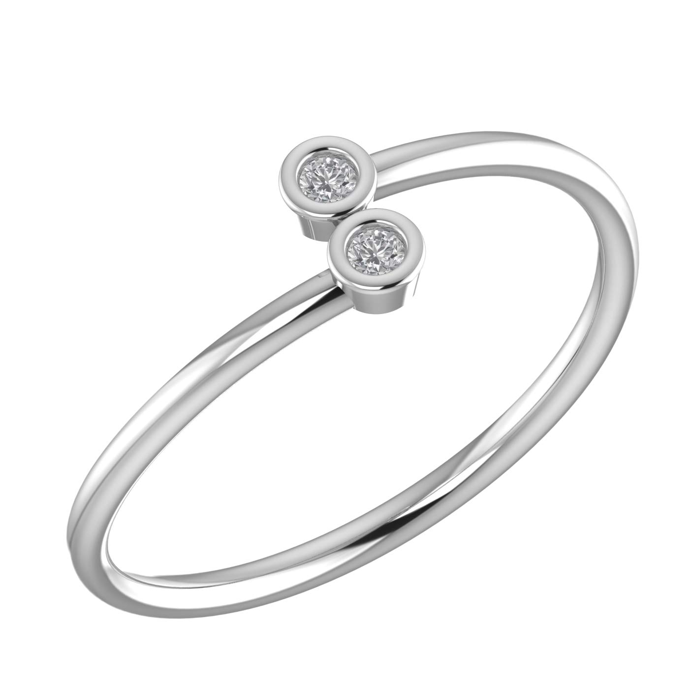 Amayra 0.06 CTW Diamond Ring - 2 Natural Round Stones in 925 Sterling Silver- Brilliant Cut(Color-GH Clarity-VS-SI)-Perfect for Bridal Promise Ring, Wedding Anniversary or Beautiful Gift
