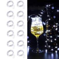 Sanhezhong Fairy Lights, 12 Pack Battery Operated Mini Lights, Battery Powered Fairy String Lights -6.5ft 20 LED Mini Firefly Lights for Wedding Crafts Table Reception Jars Vases Christmas