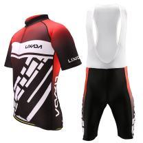 Lixada Men's Cycling Jersey Set Bicycle Short Sleeve Set Quick-Dry Breathable Shirt+3D Cushion Shorts Padded Pants/Bib Short