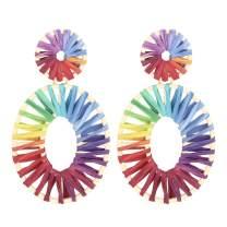 Statement Raffia Earrings Boho Drop Dangle Earrings for Women Bohemian Gift Jewelry