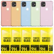 iPhone 11 case 5 Color Purple, Pink, Green, Gold, Blue w 5 Screen Protector Tempered Glass Protective Heavy Duty Case with Soft TPU Bumper [Slim Designed] Case for iPhone 6.1 Inch (2019) (Pack of 10)
