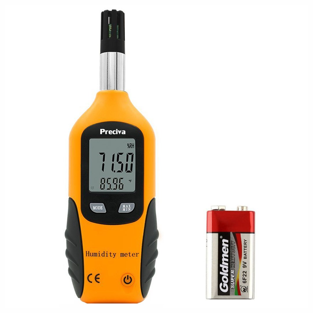 Preciva Digital Psychrometer Thermo-Hygrometer, LCD Mini Temperature and Humidity Meter with Dew Point and Wet Bulb Temperature Hygrometer for Industry, Agriculture, Meteorology (9V Battery Included)