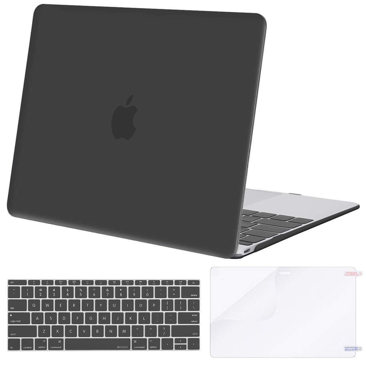 MOSISO Plastic Hard Shell Case & Keyboard Cover Skin & Screen Protector Compatible with MacBook 12 inch with Retina Display (Model A1534, Release 2017 2016 2015), Space Gray