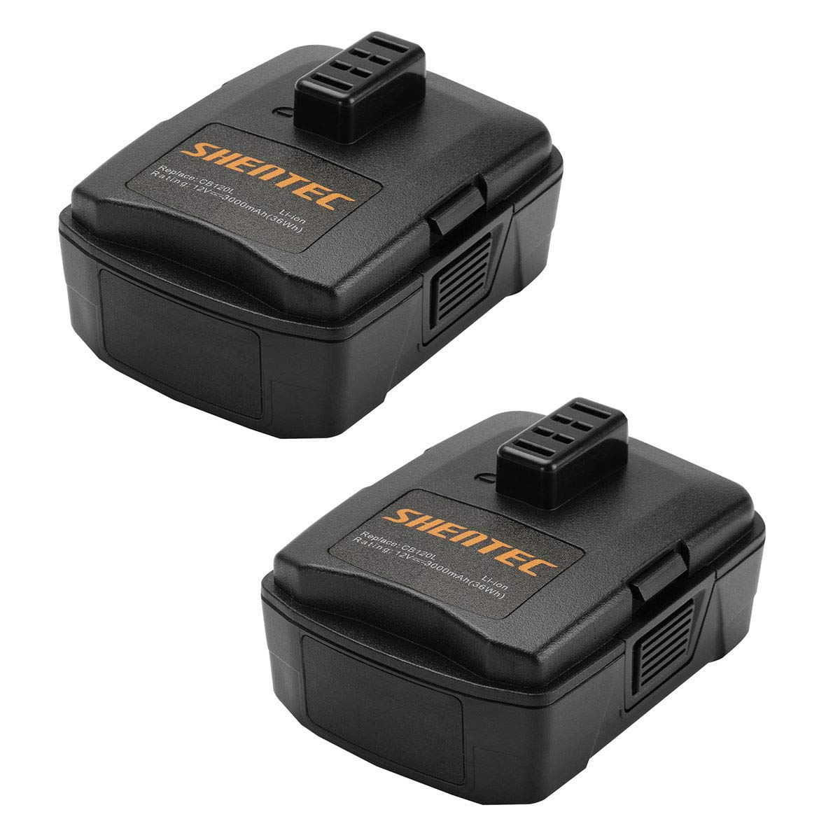Shentec 2-Pack 12V 3.0Ah Battery Compatible with RYOBI CB120L CB121L BPL-1220 130503001 130503005, 12V Lithium Battery (NOT for CB120N)